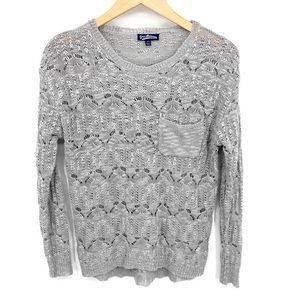 Vintage Freshman 1996 Gray Crochet Sweater XS